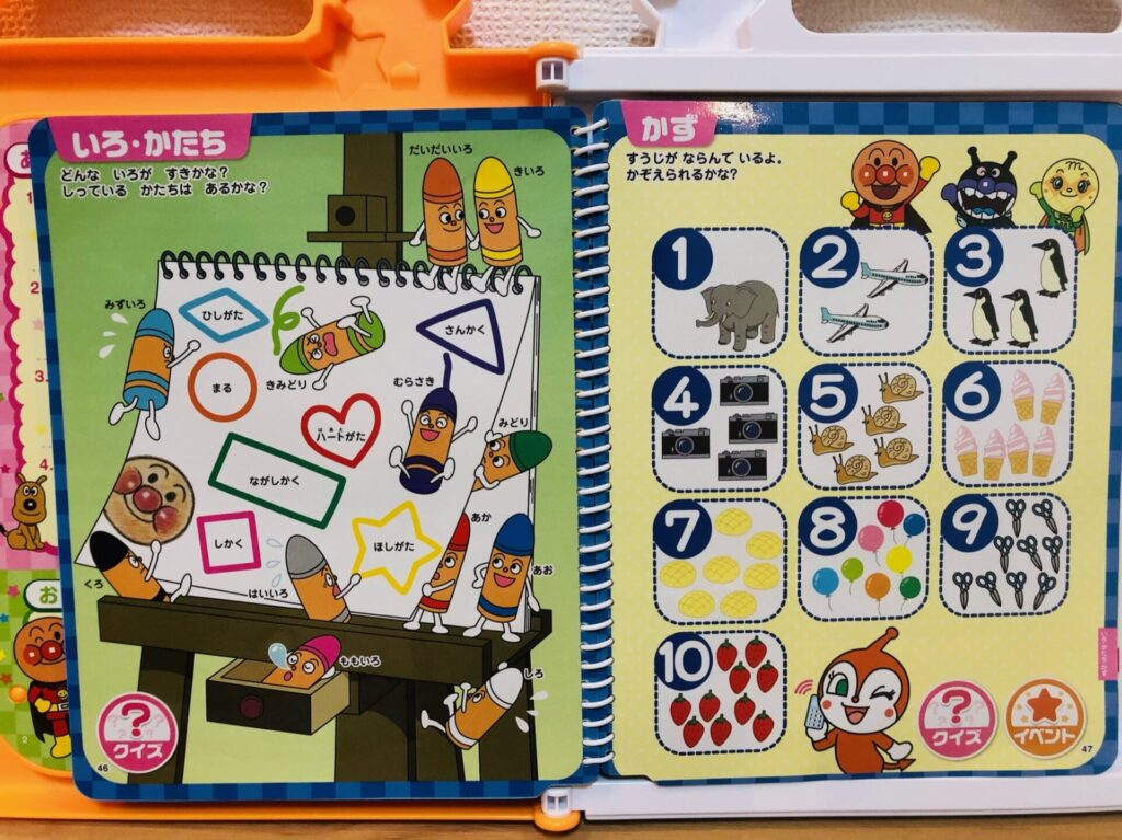 アンパンマンおしゃべりいっぱいことばずかんsuperDXいろ・かたち・かずのページ