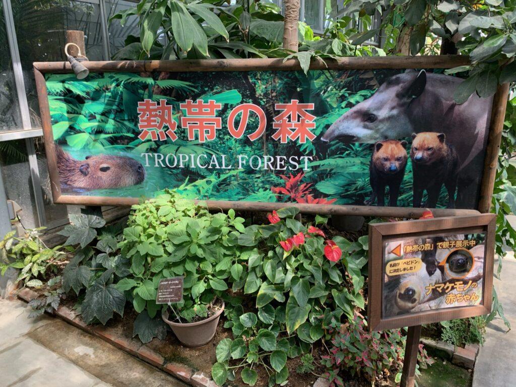 神戸どうぶつ王国熱帯の森看板