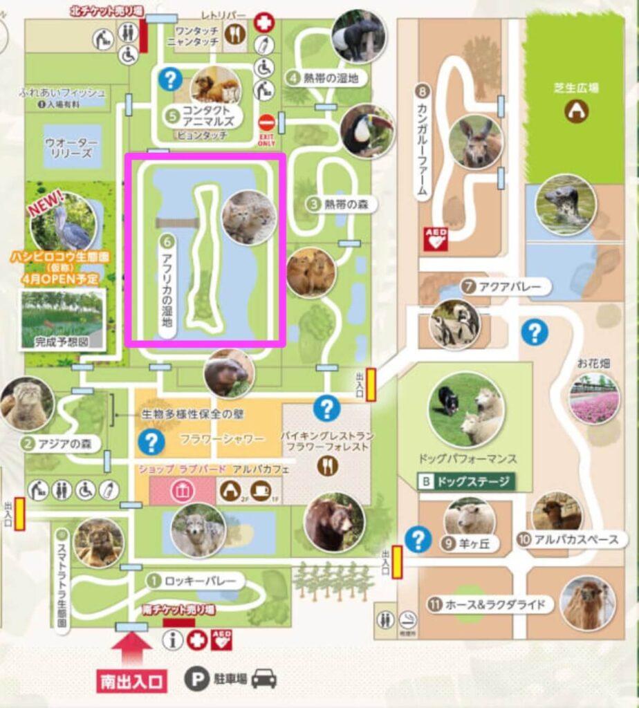 神戸どうぶつ王国園内マップ