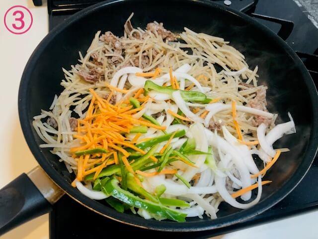 細切りじゃがいもと牛肉の甘辛炒め 細切り野菜